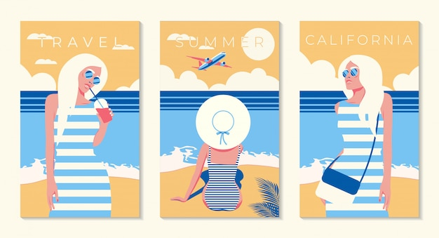 Girl on a background of blue sky. airplane in the sky. california. la. los-angeles. illustration