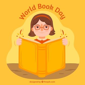 Девочка фон читает большую книгу