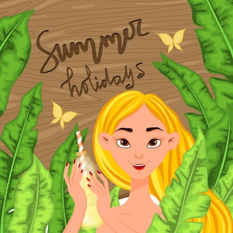 Girl on a background of a summer landscape. cartoon style. vector illustration.