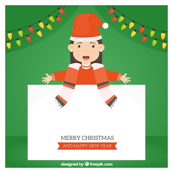 Girl background with christmas greeting