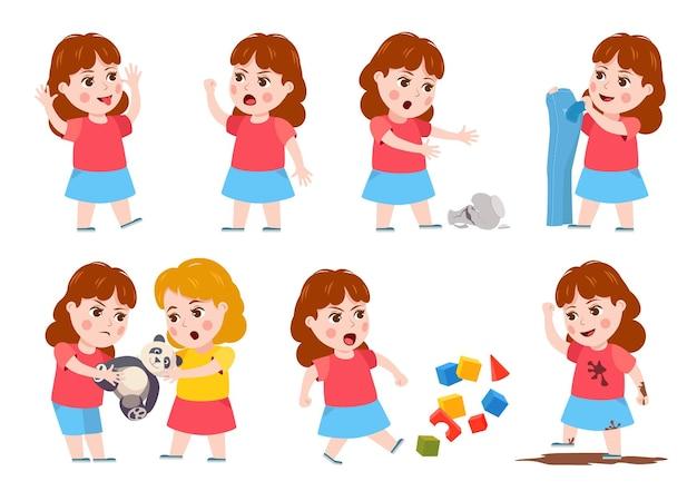 소녀의 나쁜 행동. 만화 깡패 아이는 울고, 화내고, 싸우고, 조롱하고, 엉망으로 만듭니다. 장난감을 놓고 싸우는 자매. 장난 꾸러기 아이 문자 벡터 집합입니다. 화난 행동 소녀, 아이들 싸움 그림