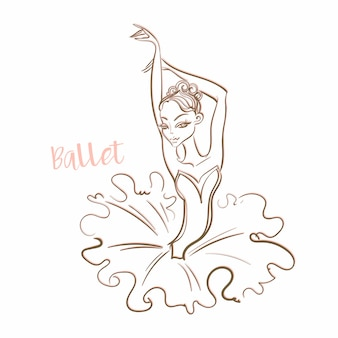 Girl ballerina. ballet. logotype. vector.