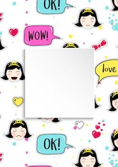 애니메이션 이모티콘 패턴으로 소녀 배너입니다. 이모티콘과 귀여운 스티커