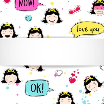 Girl banner with anime emoji pattern. cute stickers with emoticon and 3d paper. childish girl banner with kawaii asian faces.