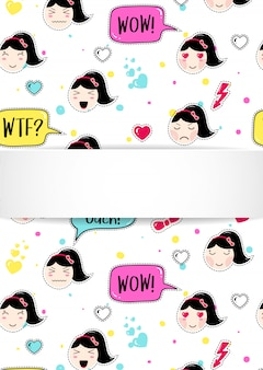 애니메이션 이모티콘 패턴으로 소녀 배너입니다. 이모티콘과 3d 종이와 귀여운 스티커입니다. 귀여운 아시아 얼굴로 유치 소녀 배너입니다.