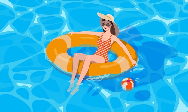 The girl bathes. floats on an inflatable ring. vector.