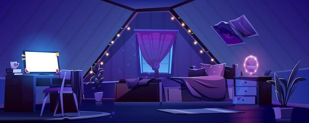 밤에 다락방에 여자 침실 인테리어