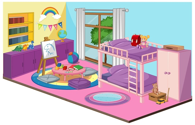 핑크 테마의 가구 및 장식 요소가있는 소녀 침실 인테리어