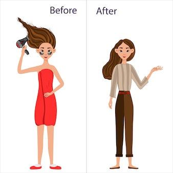 Девушка до и после укладки волос. мультяшный стиль иллюстрации.
