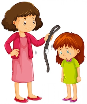 Girl being punished by mother