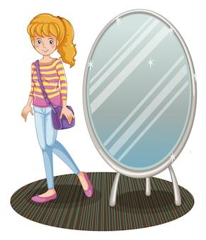A girl beside a mirror