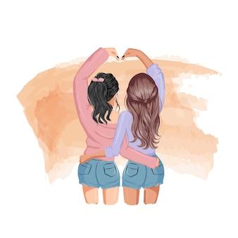 Лучшая подруга девушки делает позу сердца своими руками