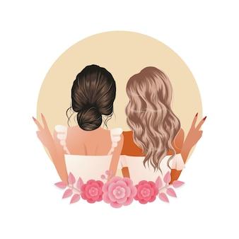여자 가장 친한 친구는 꽃으로 장식 된 평화 기호 손 제스처를 보여