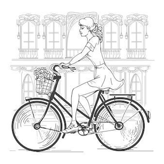 Велосипедист девушка в париже. досуг молодая женщина, городские путешествия, город моды. рука нарисованные красивая девушка в париже векторные иллюстрации