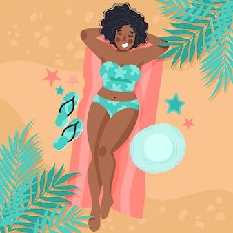 Ragazza in bikini sulla spiaggia illustrazione