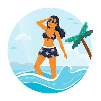 Ragazza in bikini in spiaggia illustrazione