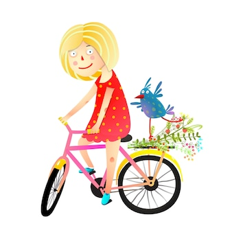 Girl and birdie riding bicycle happy summer