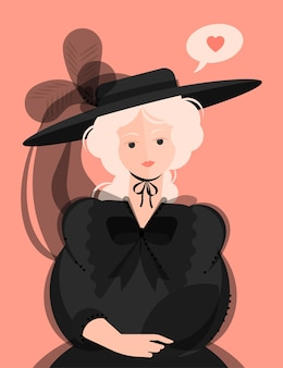 A girl in a black dress of the 18-19th century and a hat with large brims and feathers. noble portrait. bubble with a heart. colorful  illustration in flat cartoon style.