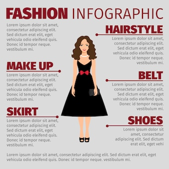 Girl in black dress fashion infographic