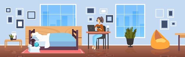 소녀 블로거 논평 게임 프로세스 비디오 검토 블로깅 라이브 스트리밍 개념 게이머 노트북 거실 인테리어 게임 전체 길이 가로 게임 패드를 사용 하여 헤드폰