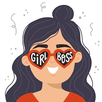 여자 사장님. 여자 보스 인용 빨간 선글라스에 젊은 현대 여성. 포스터, 배너, 전단지, 티셔츠에 대한 손으로 그린 벡터 일러스트 레이 션. 여성 파워 개념입니다.