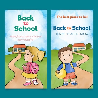 Girl and boy back to school banners