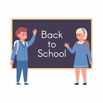 Girl and boy at the blackboard back to school concept vector illustration in cartoon style