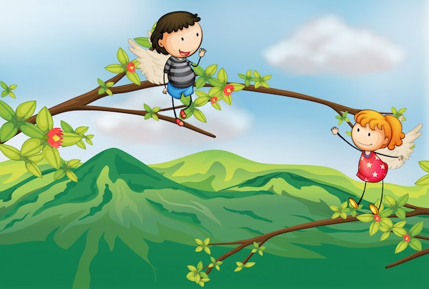 A girl and a boy at a branch of a tree