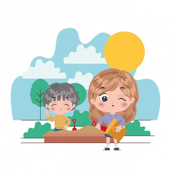 Girl and boy cartoon illustration