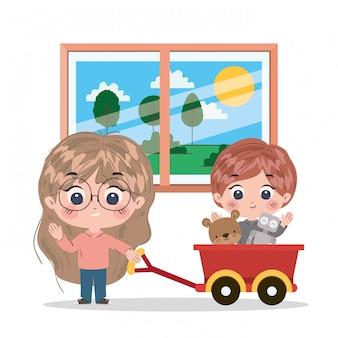Girl and boy cartoon illustration