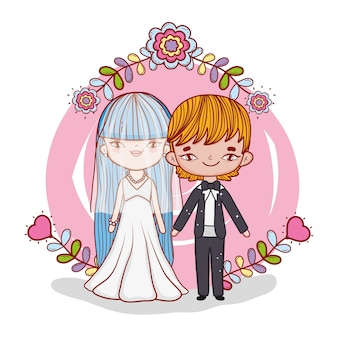 Girl and boy couple marriage with flowers