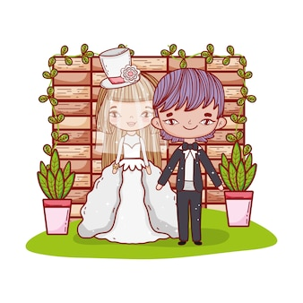 Girl and boy couple with brick wall