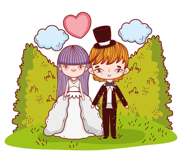 Girl and boy couple with clouds and heart