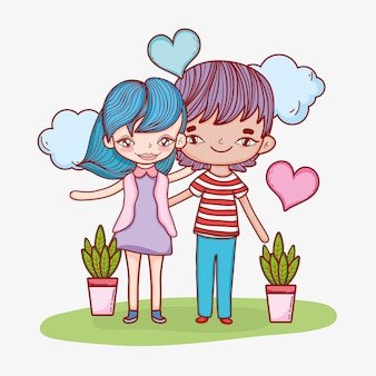 Girl and boy couple with clouds and plants