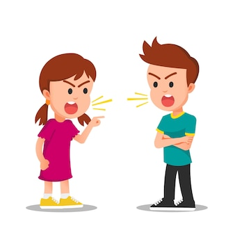 Girl and boy fight or argue with angry faces