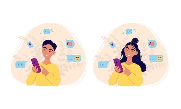 Girl and boy holding smartphone reads message set vector illustration of cartoons flat design