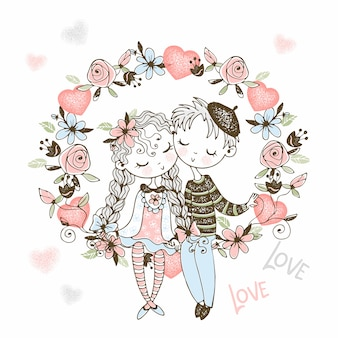 A girl and a boy in love sit in an arch of flowers.