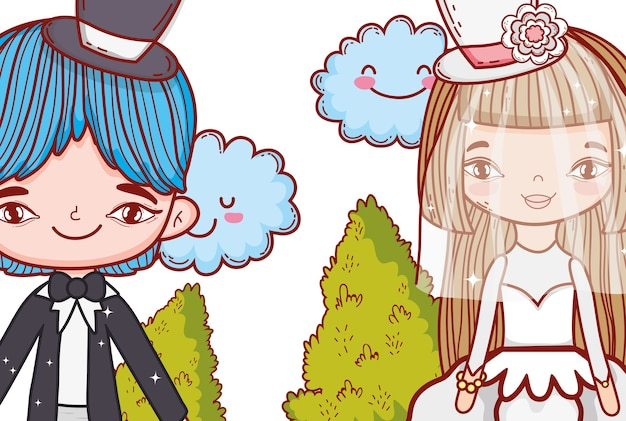Girl and boy marriage with kawaii clouds and bushes
