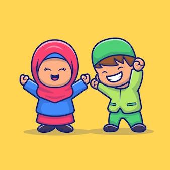 Girl and boy moslem celebrating eid mubarak cartoon   icon illustration. people religion icon concept isolated  . flat cartoon style