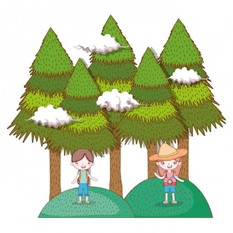 Girl and boy in the mountains with pine trees