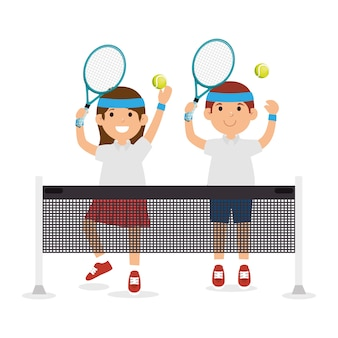 Girl and boy player tennis jump with racket ball