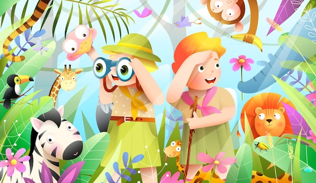 Girl and boy scout kids in african jungle adventure, little explorers hiking expedition in the forest. jungle animals hiding from scouts in forest. watercolor style vector cartoon for kids.