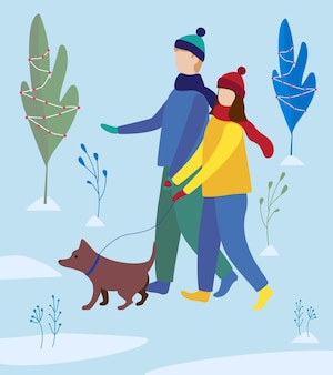 Girl and boy walking a dog in winter park. family walk. flat vector illustration