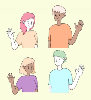 Girl and boy waving hand greeting cute people illustration