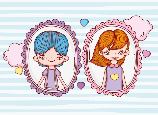 Girl and boy with couple pictures and hearts