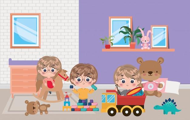 Girl and boys cartoons illustration