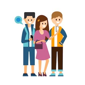 Girl and boys making a selfie, communicating in social media illustration