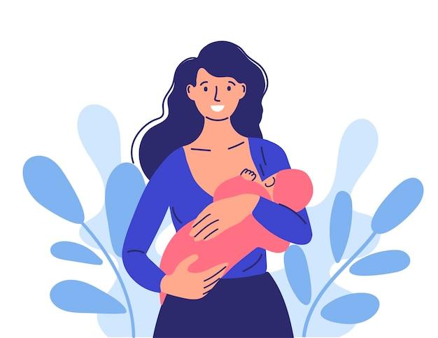 소녀는 아기에게 모유 수유를합니다. 어머니의 날 아기와 함께 행복한 엄마