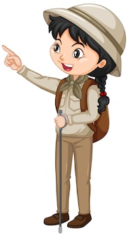 Girl in brown clothes with backpack