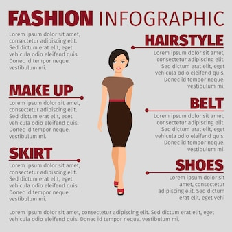 Girl in brown dress fashion infographic template